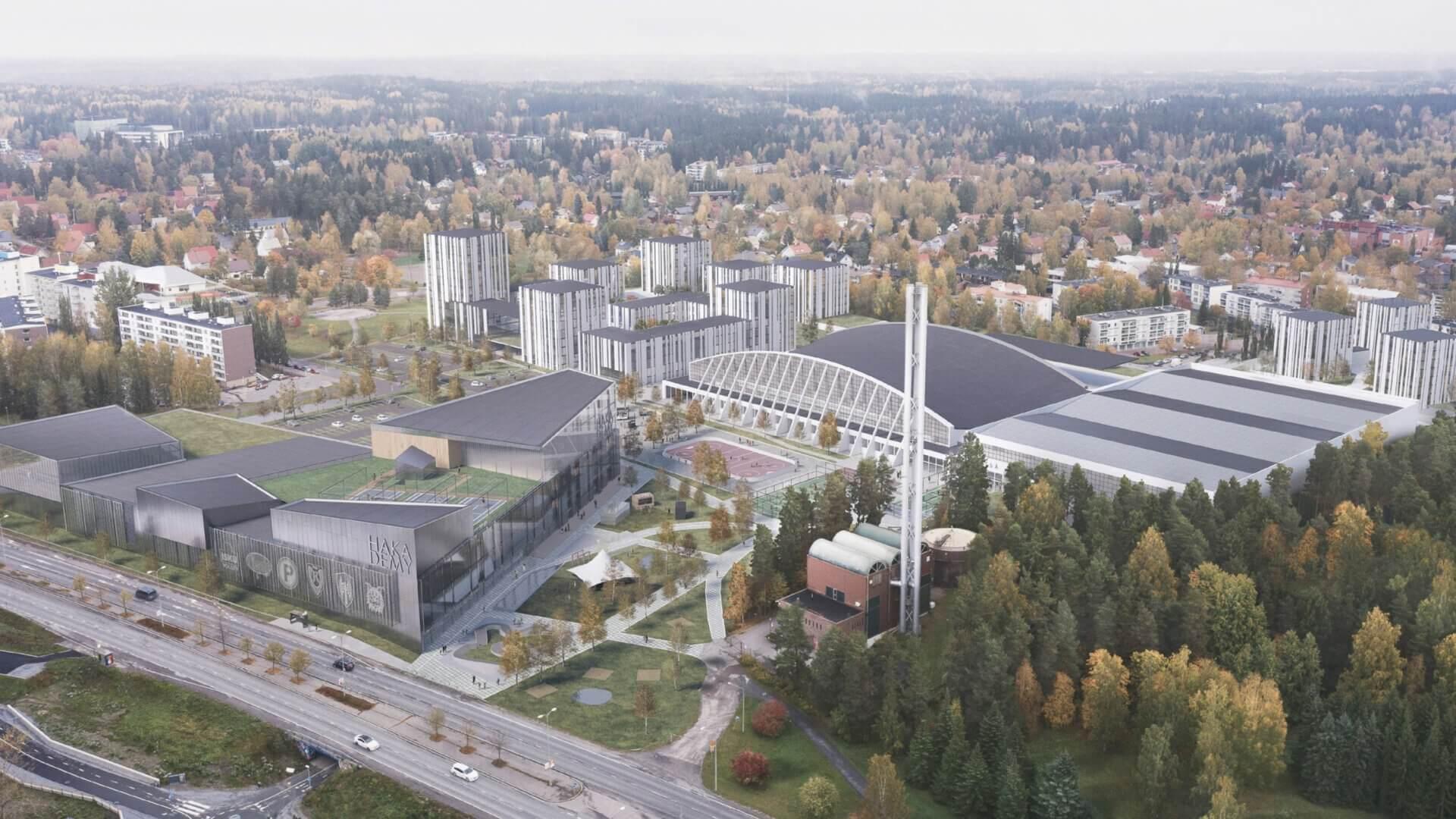 """Meijou osallistui Tampereen kaupungin järjestämään Hakametsän suunnittelukilpailuun, tuloksena palkintosijoille yltänyt """"Hakametsä Sport Campus -konsepti"""" 2"""