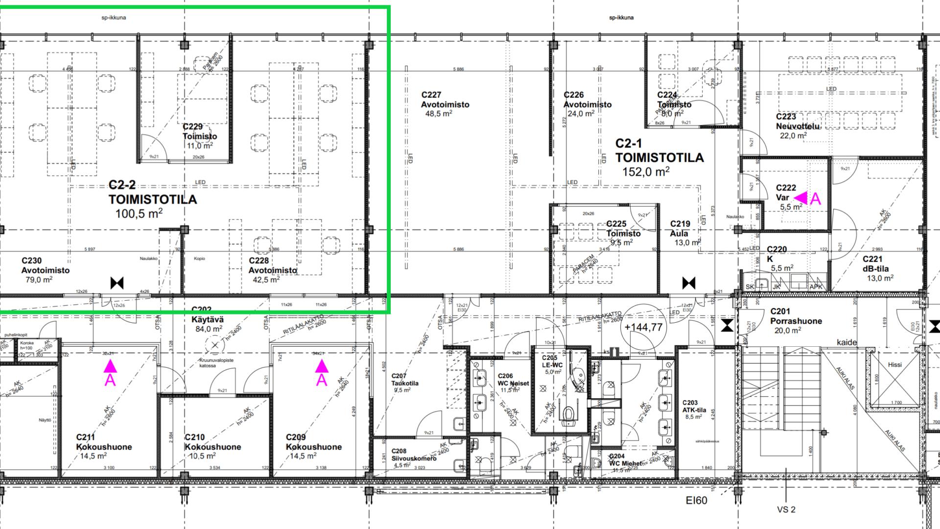 Toimistotila 100 m2, Linnakallio Pirkkala 12
